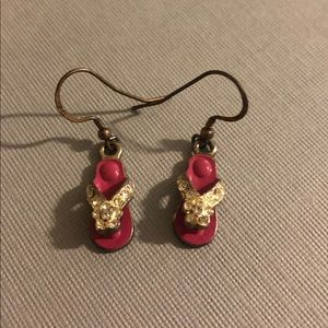 Jewelry - Pink flip flop earrings